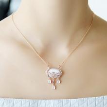 (小)美优dd的工猫眼石qj吊坠时尚复古短式锁骨链首饰品