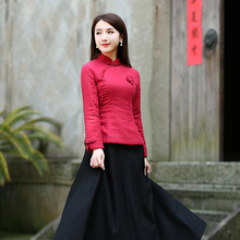 中式红dd上衣唐装女wy厚中国风棉旗袍(小)袄复古民国中国风女装