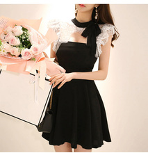 蕾丝连dd裙2020yb仙女超仙气质性感露肩洋装(小)礼服镂空裙子女