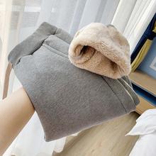 羊羔绒de裤女(小)脚高au长裤冬季宽松大码加绒运动休闲裤子加厚
