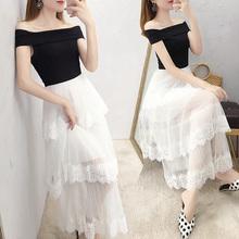 一字肩de衣裙长式显bi气质黑白蕾丝蛋糕裙2021年流行裙子夏天