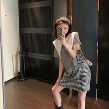 夏天家de021春装bi龄显瘦黑白格子娃娃领连衣裙子女设计感(小)众