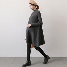 孕妇毛de秋冬式时尚bi码打底孕妇裙 春装宽松中长式孕妇连衣裙