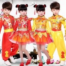宝宝新de民族秧歌男bi龙舞狮队打鼓舞蹈服幼儿园腰鼓演出服装