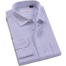 春新品丝光de2棉dp成nn衫男长袖商务正装格衬衣条纹宽松品牌