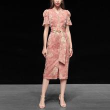 印花雪de长裙气质修re收腰显瘦中长式连衣裙女装夏季2020新式