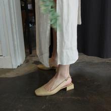 欧美2de20春新式on头中跟镂空单鞋方跟粗跟一字扣带低跟凉鞋女