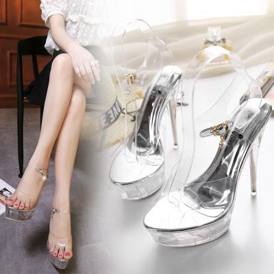 202de春夏韩款超on特鞋14cm细跟防水台水晶凉鞋女钢管舞夜店鞋