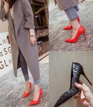 欧美2de20新式秋ng细跟红色高跟鞋尖头百搭名媛(小)清新公主单鞋