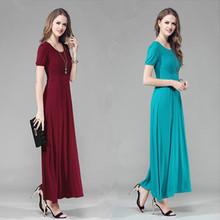 新式莫de尔修身长式ng夏装短袖大码宽松显瘦波西米亚大摆长裙