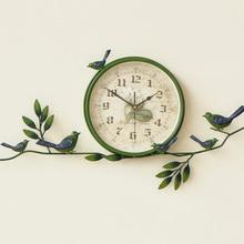 田园创de挂钟表家用an室圆形个性装饰钟简约静音欧式乡村时钟