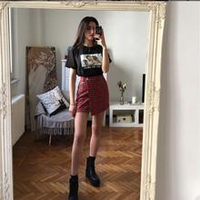 欧美新de红色格子裙an色显瘦高腰A字半身裙吊链开叉chic短裙
