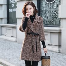 金貂绒de套女201an冬季豹纹加厚毛呢赫本中长式港味修身呢大衣