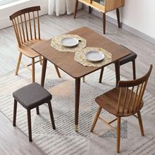 北欧实de橡木方桌(小)an厅方形餐桌椅组合现代铜脚方桌子洽谈桌