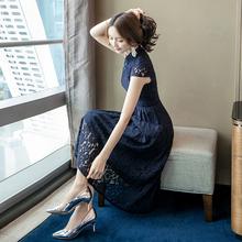 202de女夏季新式fe袍晚礼服蕾丝优雅气质名媛显瘦中长式连衣裙