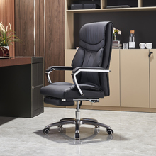 新式老de椅子真皮商in电脑办公椅大班椅舒适久坐家用靠背懒的