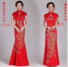 鱼尾旗袍结婚长式红色新娘敬de10服新式in式晚礼服修身QP1823女