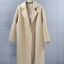 反季促de 低价 手ng羊绒毛呢女士大衣粉杏色全羊毛外套中长
