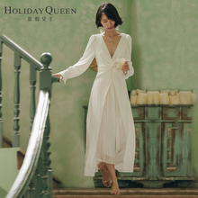 度假女deV领秋写真ng持表演女装白色名媛连衣裙子长裙