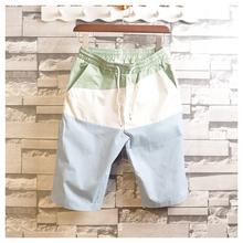 夏季休de格子短裤男tu大码条纹中裤韩款亚麻五分裤夏天沙滩裤