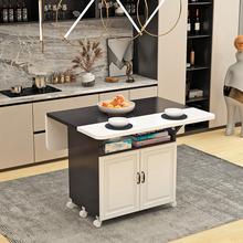 折叠餐de家用(小)户型tu带轮正方形长方形简易多功能吃饭(小)桌子