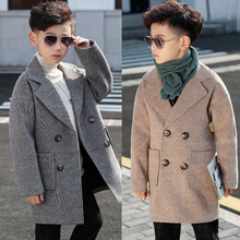 男童呢de大衣202pr秋冬中长式冬装毛呢中大童网红外套韩款洋气