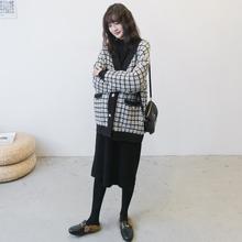 孕妇装春秋套de3韩国(小)香pr子宽松休闲针织外套时尚辣妈冬季