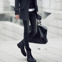 潮牌黑de雪花洗水紧at裤男生韩款修身弹力(小)脚长裤铅笔裤靴裤