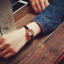 韩国复古方形表盘彩de6漆皮细表at手表经典百搭女表潮流时尚