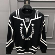 羊毛衫de2020秋di式圆领套头字母拼色毛衣韩款修身打底针织衫