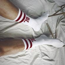 数字7de休闲杠子高is男生街拍潮袜白色袜子夏季新式吸汗透气韩