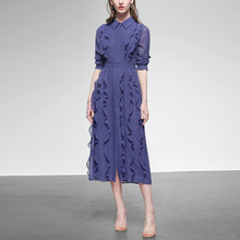 春装2de21新式女ve边雪纺长裙仙气质衬衫裙子长袖中长式连衣裙