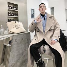 花熙FA秋冬季韩国垂感中de9式风衣男mo双排扣帅气chic外套潮