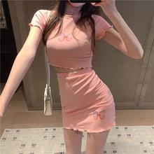 网红直de衣服女主播mo镜性感紧身套装裙显瘦露脐上衣短裙夏天