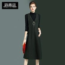 海青蓝de021春装mo美纯色V领背心裙女修身百搭毛呢连衣裙2455