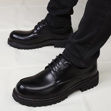 新式商de休闲皮鞋男mo英伦韩款皮鞋男黑色系带增高厚底男鞋子
