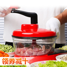 手动绞de机家用碎菜er搅馅器多功能厨房蒜蓉神器料理机绞菜机