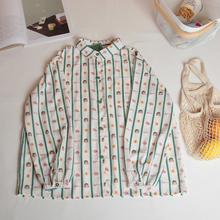 【大脸猫】日系少女印de7竖条纹衬ap学生宽松雪纺上衣秋新
