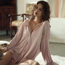 今夕何de夏季睡裙女ik衬衫裙长式睡衣薄式莫代尔棉空调家居服