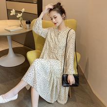 哺乳连de裙春装时尚ik019春秋新式喂奶衣外出产后长袖中长裙子