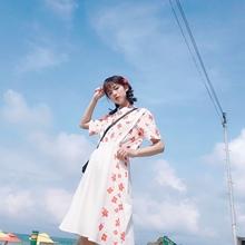 少女星de原创日系少ik显瘦印花衬衣+宽松两件套装潮流