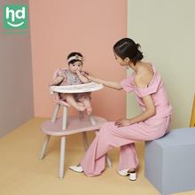 (小)龙哈彼餐de多功能宝宝ia分体款桌椅两用儿童蘑菇餐椅LY266
