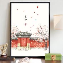 数字油de手工diyil客厅中国风手绘油彩三联田园复古风