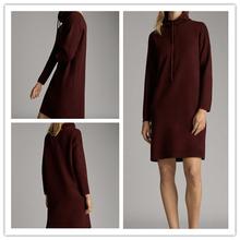 西班牙df 现货20kw冬新式烟囱领装饰针织女式连衣裙06680632606