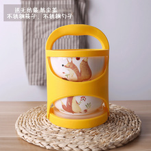 栀子花df 多层手提cp瓷饭盒微波炉保鲜泡面碗便当盒密封筷勺