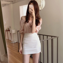 白色包裙女短款春dg5高腰20bga字半身裙紧身包臀裙性感短裙潮