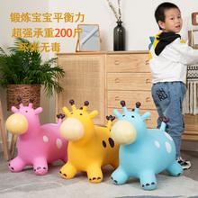 儿童跳跳独dg兽充气加厚bg骑马毛绒玩具音乐跳跳马唱歌长颈鹿