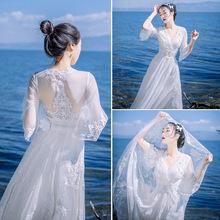 春夏网dg波西米亚蕾m8裙修身显瘦海边度假沙滩裙大摆露背长裙