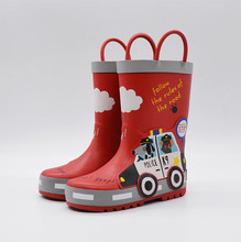 男童 dg色警车卡通or童(小)孩防滑中筒橡胶雨鞋靴水鞋 四季可穿