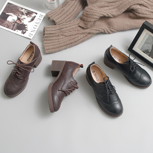 伯爵猫di021春季de跟(小)皮鞋复古布洛克学院英伦风女鞋高跟单鞋